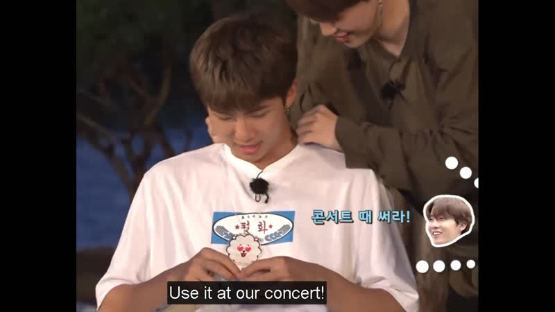 Joon's smile when jimin puts the rj necklace on him