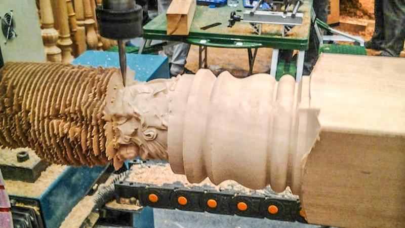 Excellent big CNC wood lathe machine working. Creative CNC wood turning machine