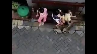 Обезьяна на велосипеде пыталась украсть ребёнка