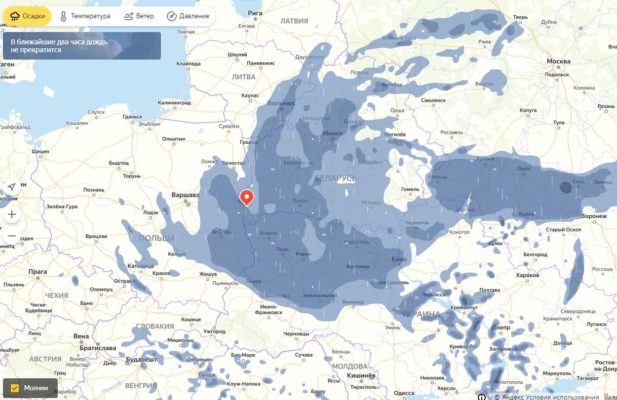 Над Беларусью развернулся грандиозный циклон. Ветер, дождь, сырость обеспечены
