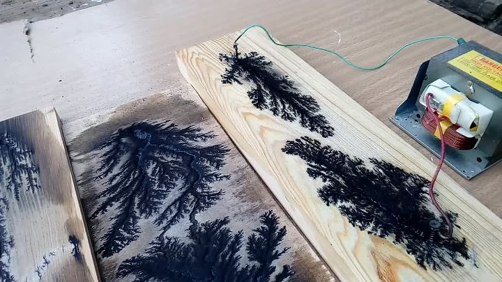 Картины на дереве по методу Лихтенберга с ютуб канала StrongMan