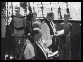 Archbishop dedicates ship on the Thames (1951)