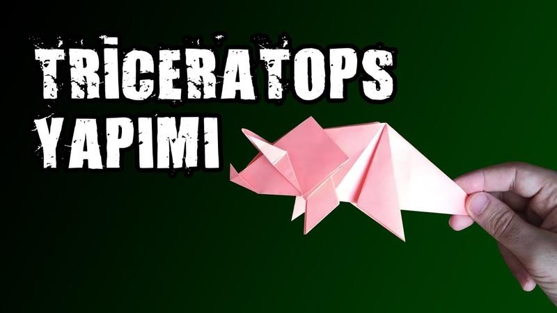 Kağıttan Triceratops Yapımı Paper Triceratops