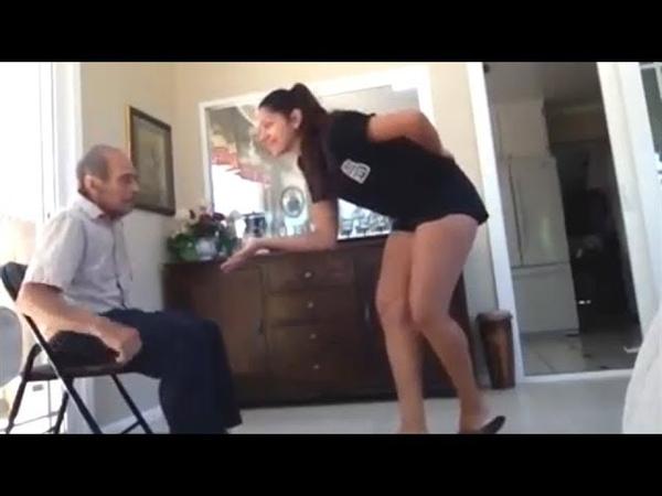 На камеру попало как девушка вела себя со своим 93 летним дедом когда никто их не видел