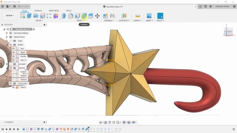 Меч Slay Belle Katarina для 3D печати во Fusion 360 и Cura