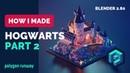 Hogwarts Castle Part 2 in Blender 2.8 - Low Poly 3D Modeling Timelapse Tutorial