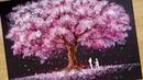Bath Sponge Q-tips painting technique / How to draw Romantic Couple beside tree