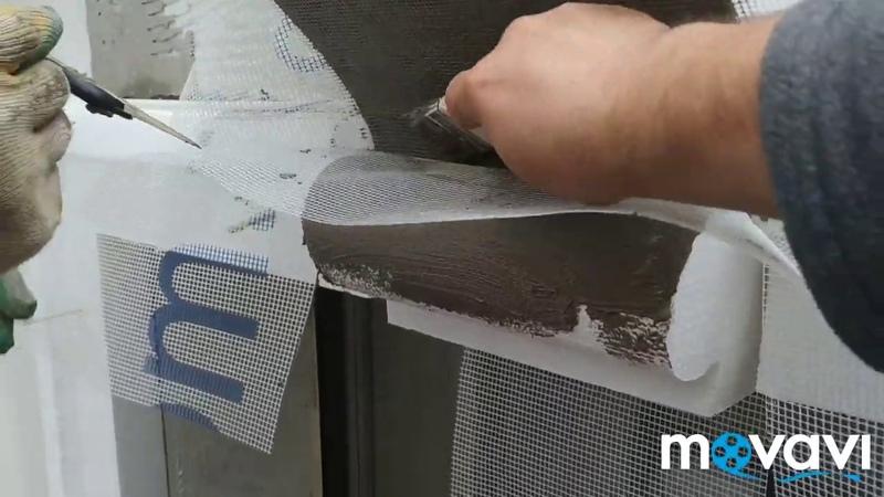 Обработка клеем с сеткой пенопластовых фасадных декоративных элементов сложной конфигурации