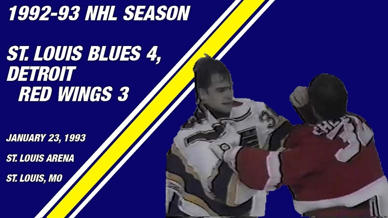 St Louis Blues 4 Detroit Red Wings 3 Goalie Fight Game January 23 1993