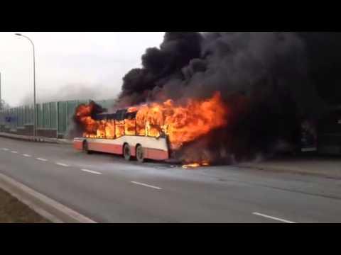 Pożar autobusu Gdańsk Karczemki 13.02.2014