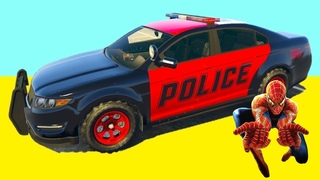 SPIDERMAN vs POLICE CARS Challenge with Superheroes on Ramps - GTA V MODS
