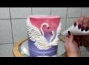 Красивый декор торта с цветами и парой лебедей. Торт на свадьбу, венчание, помолвку. / Наша группа во ВКонтакте ULTRACAKES.