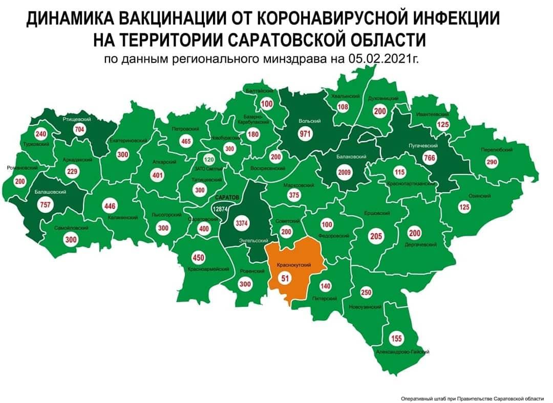 Обновлена карта динамики проведения вакцинации от коронавирусной инфекции на территории Саратовской области
