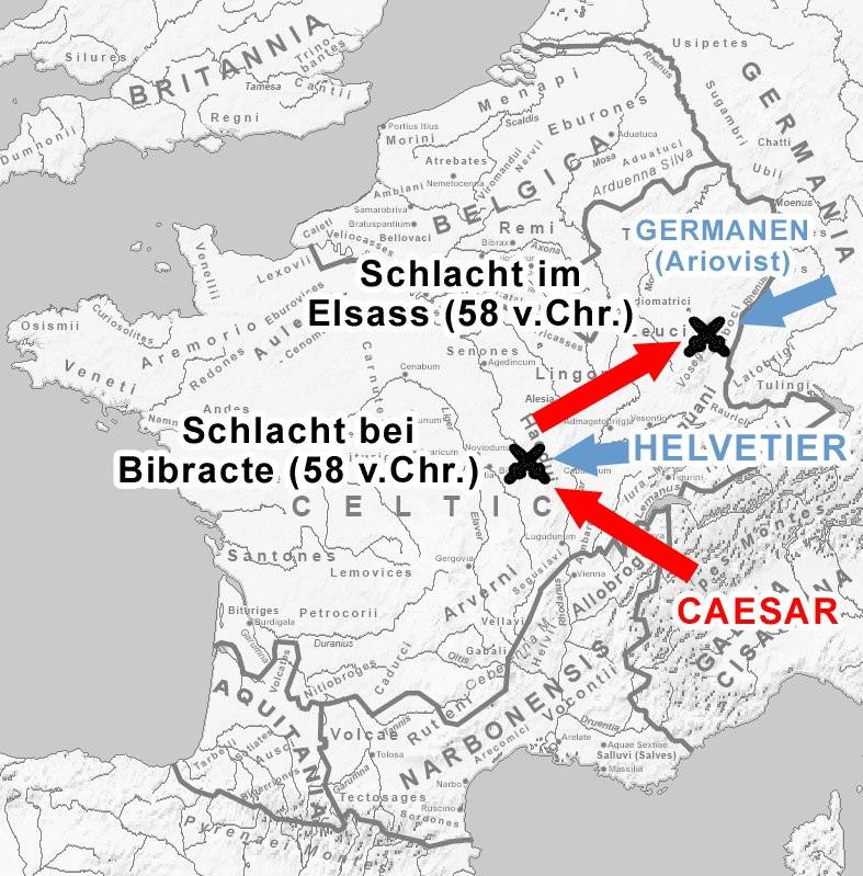 Карта. На самом деле никто не знает где точно проходило сражение, единственное что известно, это то, что неподалеку (и то, либо 1 миля, либо 10) от Рейна. Вот такая вот точность античного GPS.