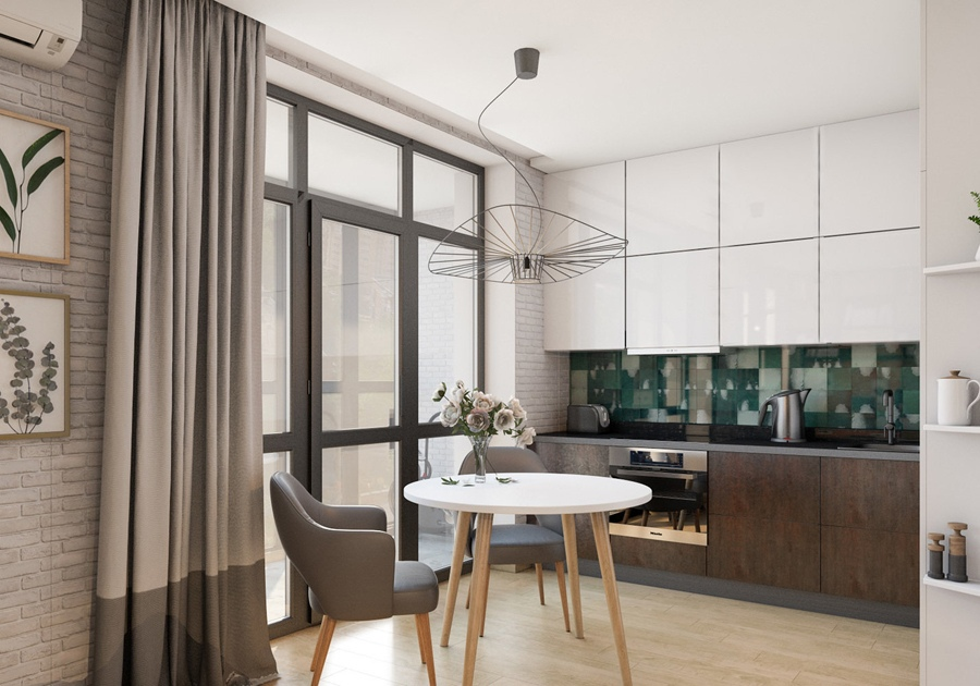 Проект квартиры-студии 36 м.