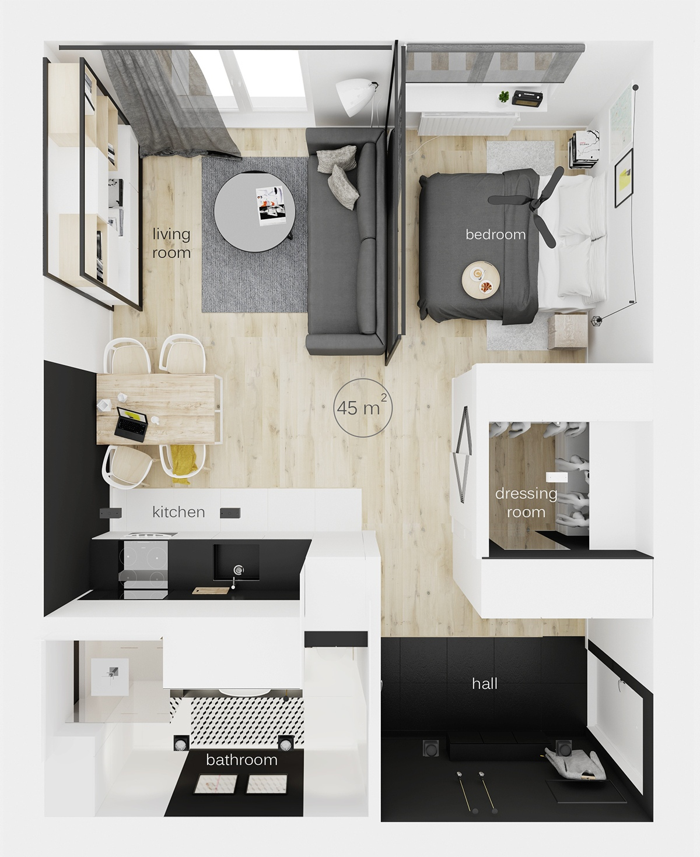 Проект квартиры 45 м.
