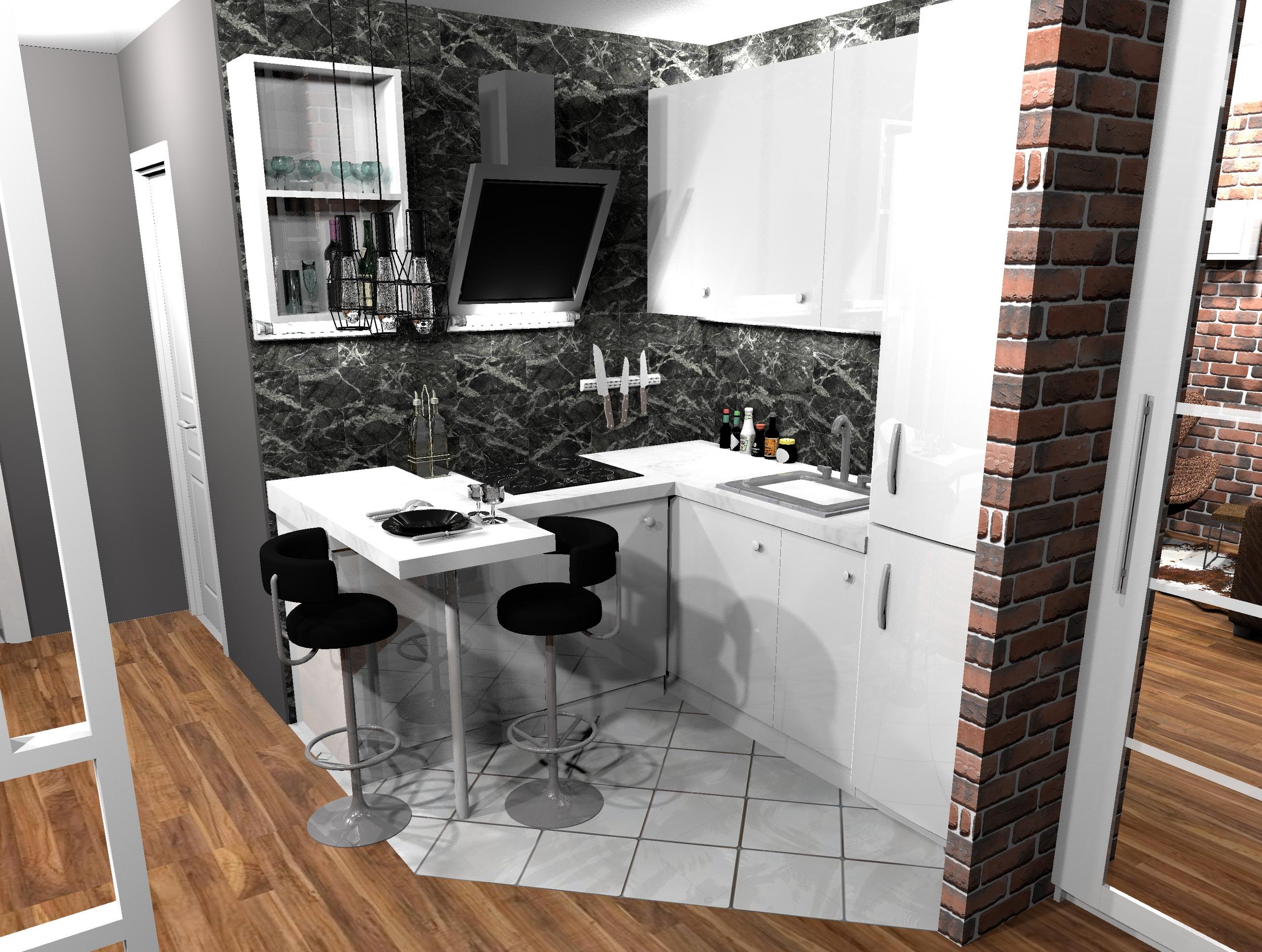 Добрый день, какой дизайн более подходит для кухонных стен в студии?