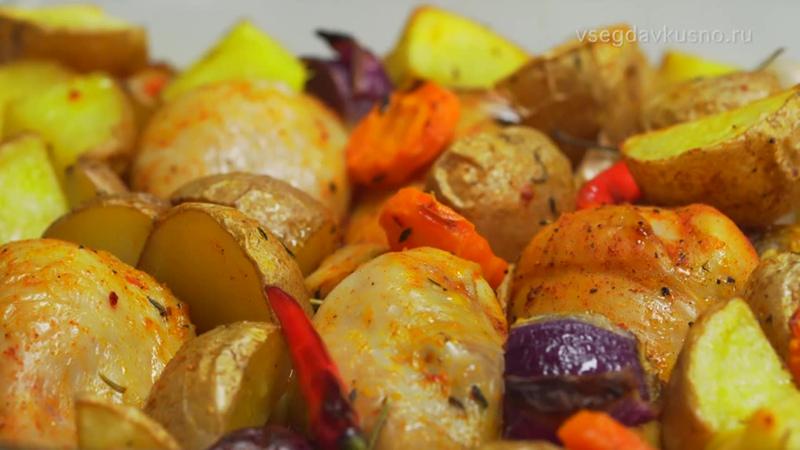 Запеченные куриные ножки с картофелем. Рецепт от Всегда Вкусно