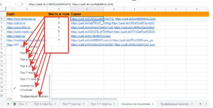 Сбор данных в таблицу