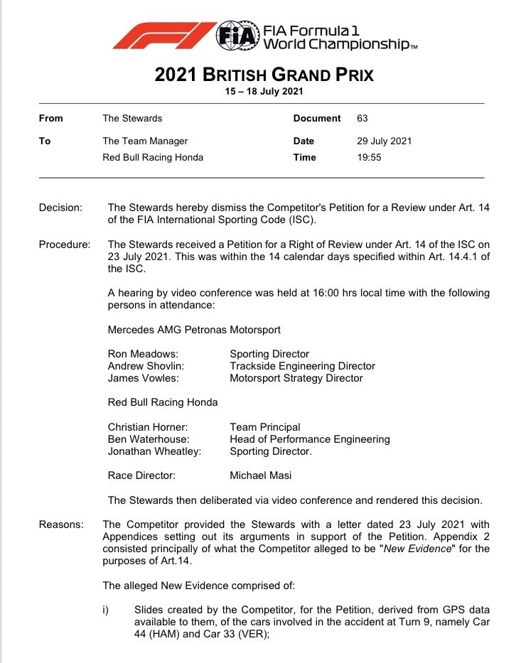 FIA rejected Red Bull appellation