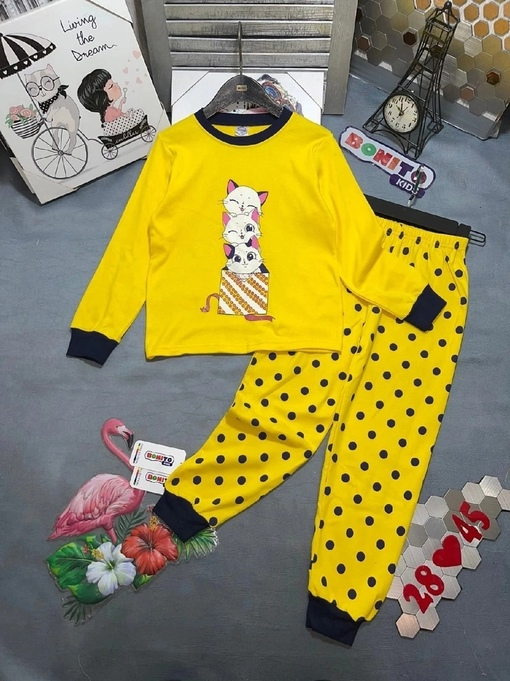 Новинки   Пижама для девочка, материал: интерлок , состав:100%хлопок   Цена   Размер, 122,128 рост   Хорошее качество ,красивые модели   Фирма BONITO