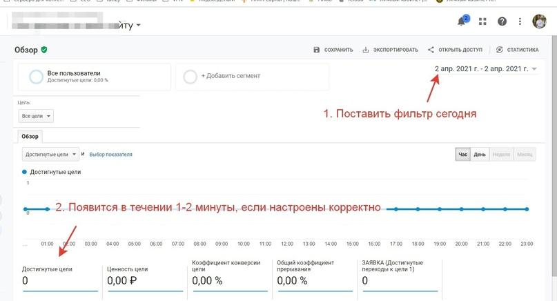 Проверка целей Яндекс.Метрики