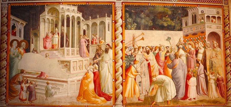 Представление Марии и ее помолвка. Эта фреска - самое известное произведение Таддео Гадди.