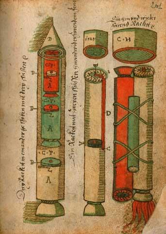 Ракеты XVI века: пилотируемые, многоступенчатые и с соплами, изображение №19