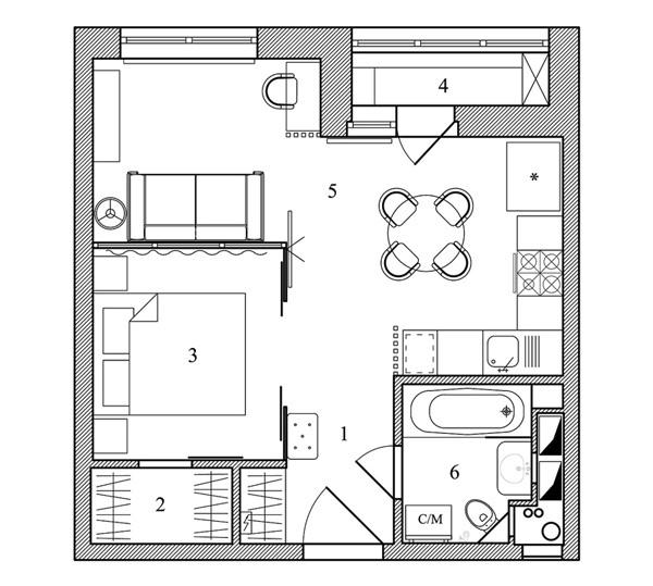 Интерьер квартиры 34 кв.