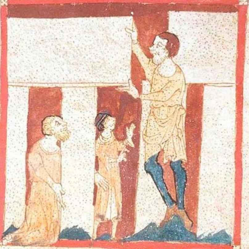 Мерлину помогает великан в Стоунхендже, около 1150 года нашей эры.