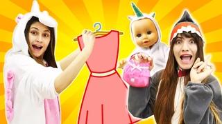 Vidéo drôle pour enfants avec Baby Born. Unicorn et Shark choisissent de nouveaux vêtements