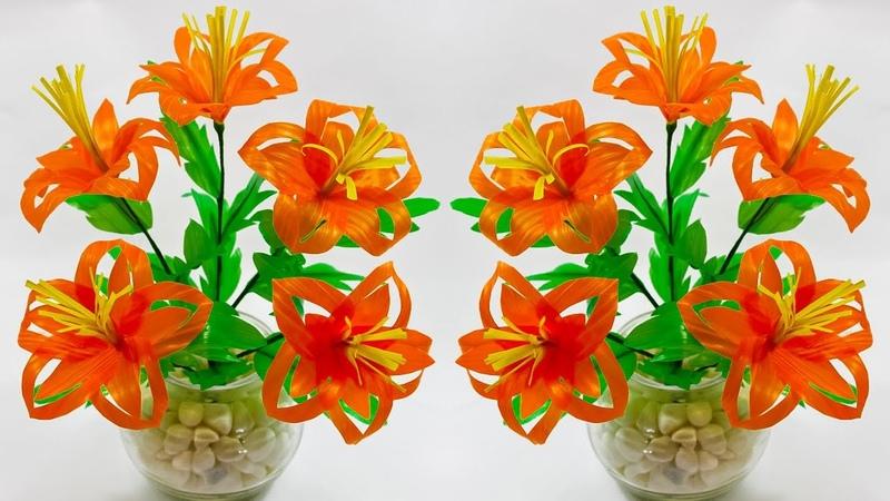 Bunga dari sedotan kreasi untuk ruang tamu | DIY home decoration straw flower