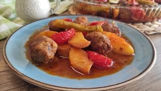 ИЗМИР КЁФТЕ - котлетки по-измирски. İzmir Köfte.Турецкие котлеты - кёфте с овощами в духовке.