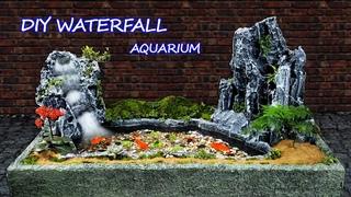 Using Bricks And Styrofoam Left - My Father Built A Beautiful Waterfall Aquarium Like a Dream