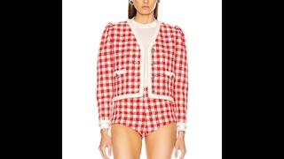 Короткий твидовый пиджак женский, 2020, ранняя осень, модное, с треугольным вырезом, однобортное, красное, клетчатое твидовое