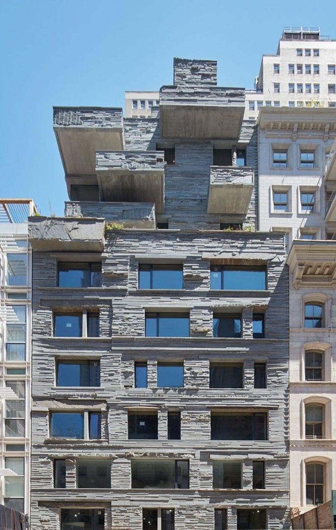 12 warren's rough-hewn bluestone façade contrasts tribeca's historic lofts New York's