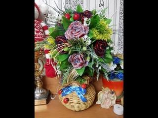 Рукоделие. Топиарий из искусственных цветов и роз (атласные ленты и кружева)